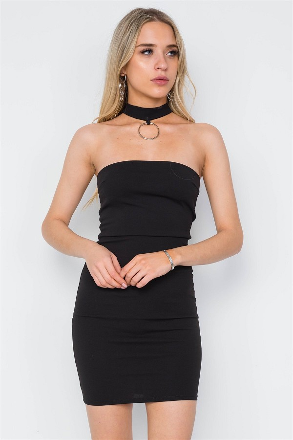 Bodycon choker neck mini dress-id.cc37475a