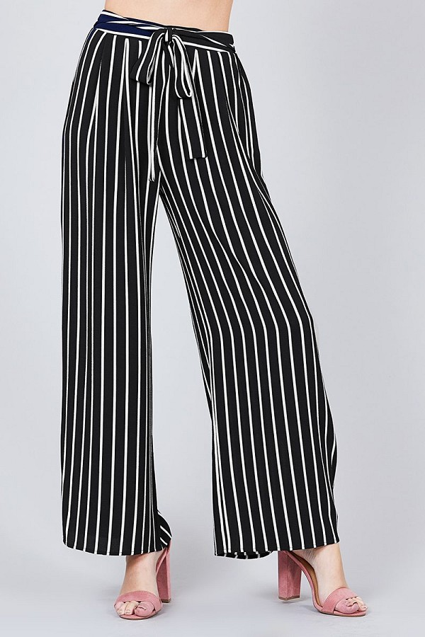 Stripe print waist self bow tie crepe long pants-id.cc37493