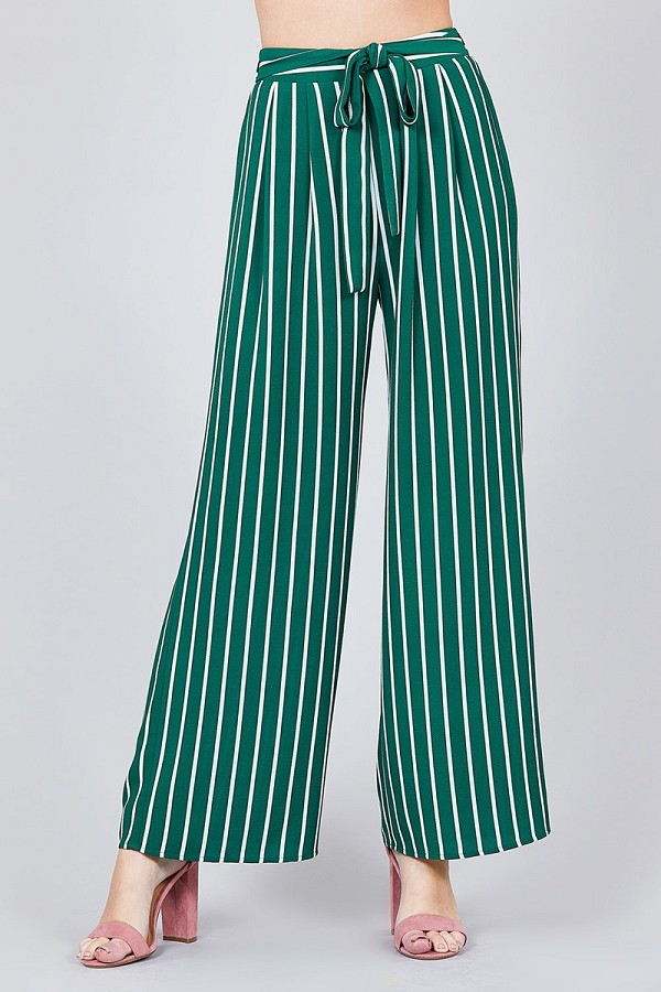 Stripe print waist self bow tie crepe long pants-id.cc37493d