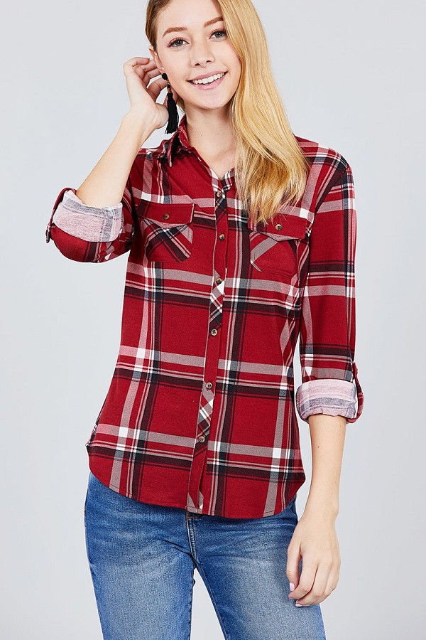 3/4 roll up sleeve front pocket detail plaid check print stretch knit shirts-id.cc37494d