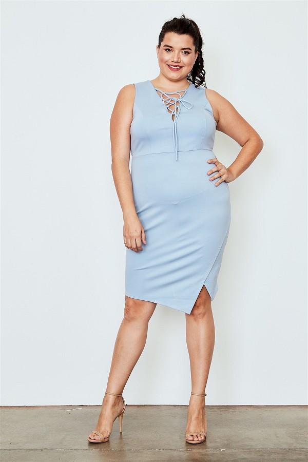 Plus size light blue lace up asymmetrical front dress-id.cc37546