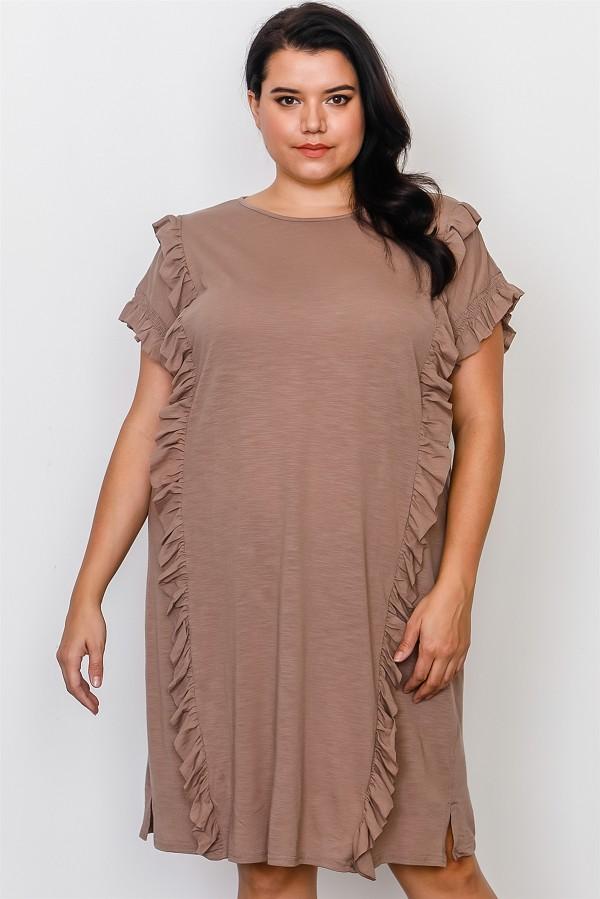 Plus size ruffle front midi dress -id.cc37548a