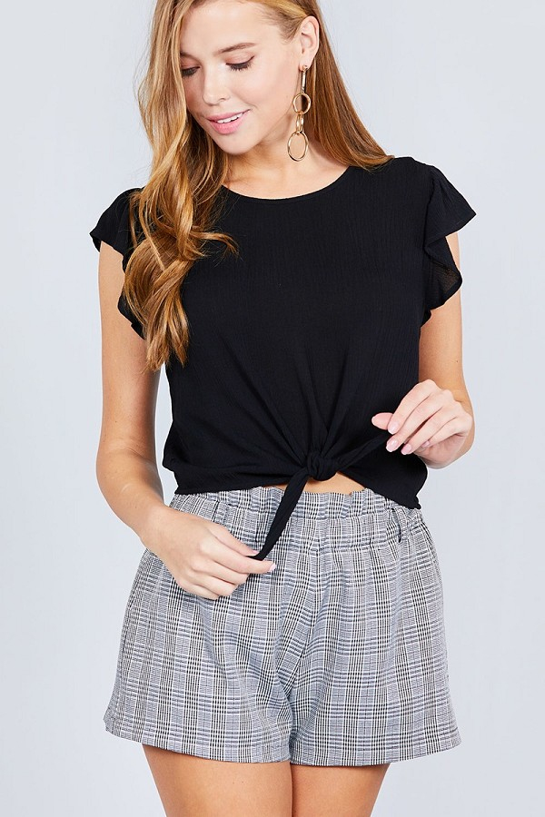 Ruffle short sleeve front tie crinkle gauze woven top-id.cc37698