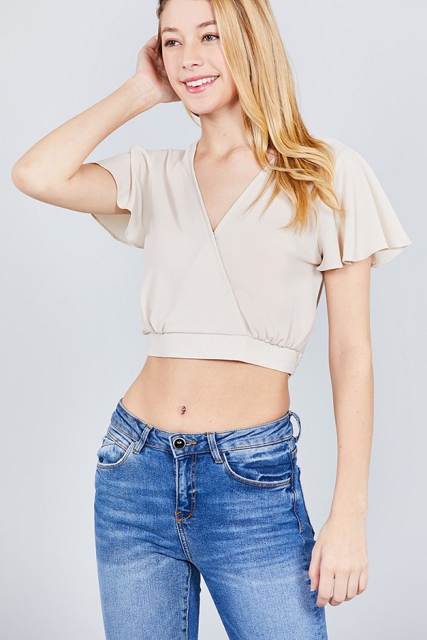 Short sleeve v-neck w/surplice tie detail woven top-id.cc37699