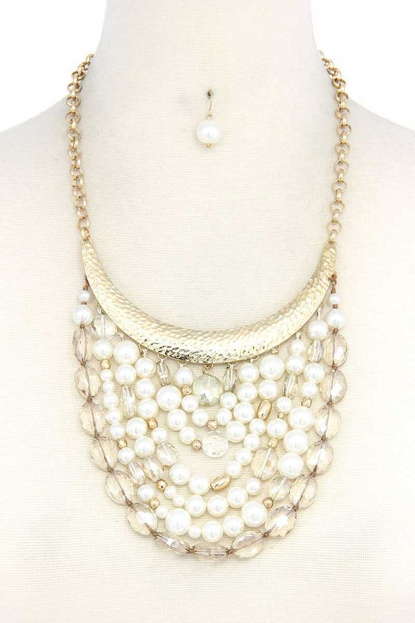 Curve metal bar beaded bib necklace-id.cc37718