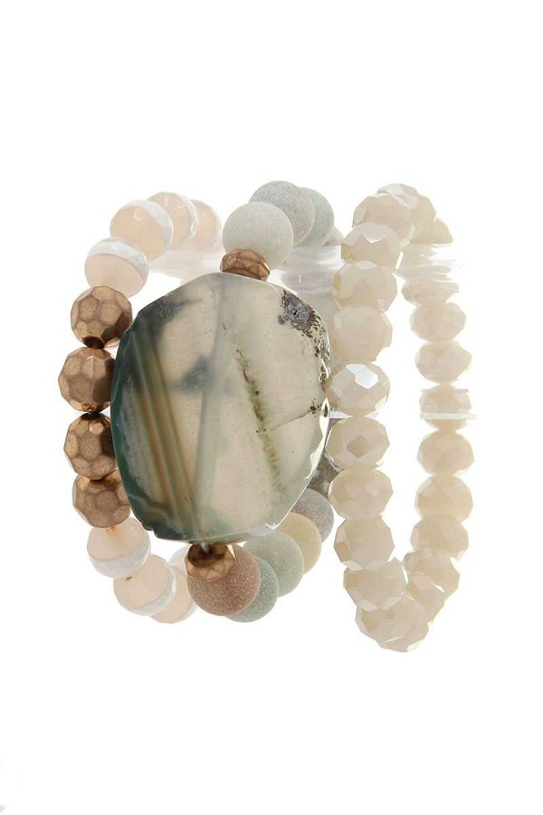 Natural stone beaded stretch bracelet-id.cc37737