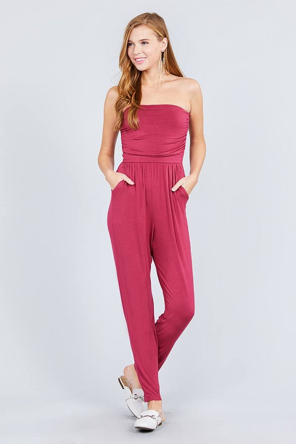 Strapless tube top w/front slanted and pocket rayon spandex jumpsuit-id.cc37770a