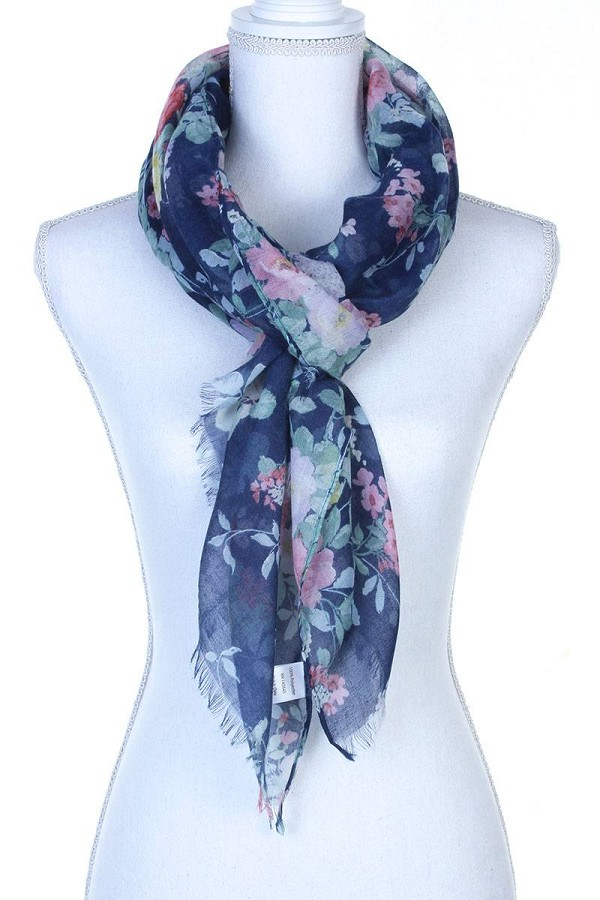 Floral pattern sheer oblong scarf-id.cc37775