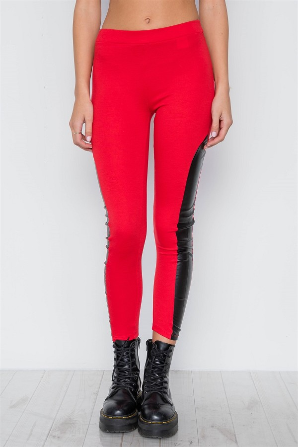 Faux leather sides mid-rise leggings-id.cc37980a