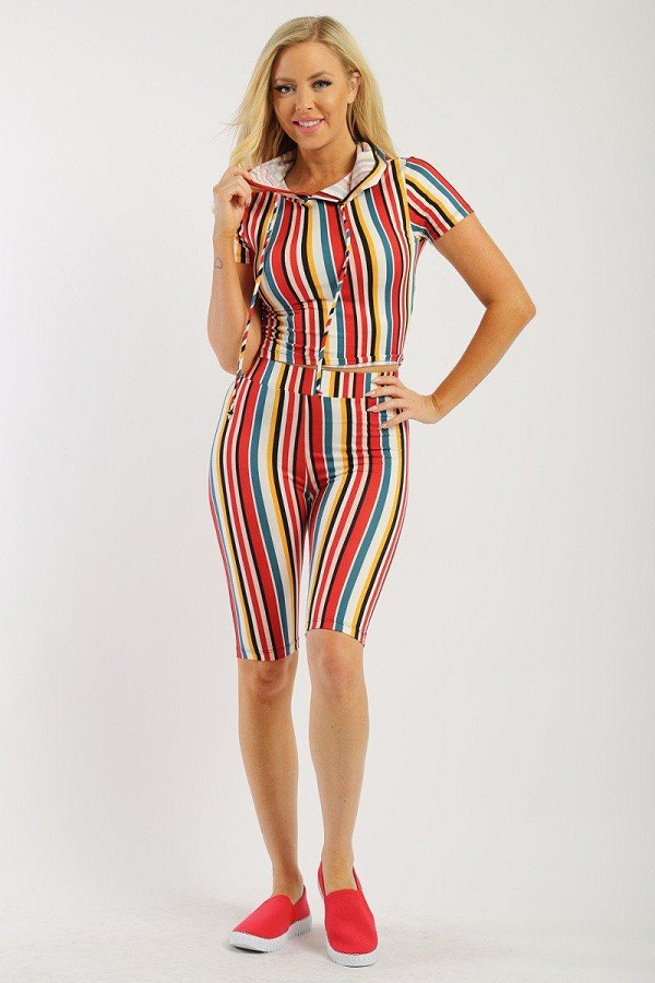 Striped, two piece top and short set-id.cc37997