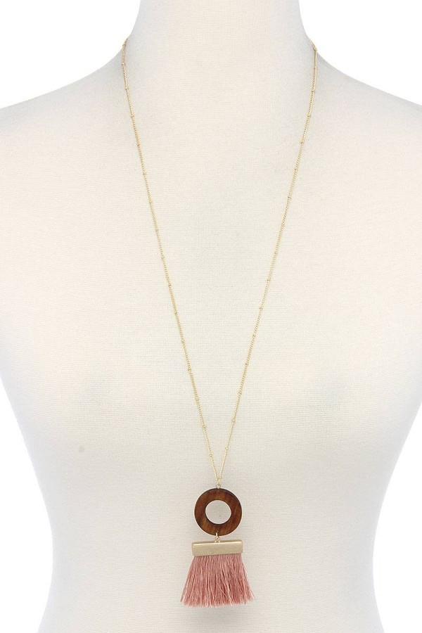 Wooden circle tassel pendant necklace-id.cc38014