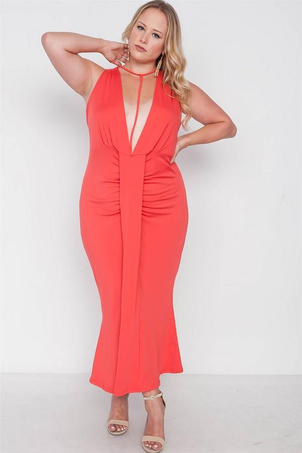 Plus size red deep v-neck strap detail maxi dress-id.cc38546