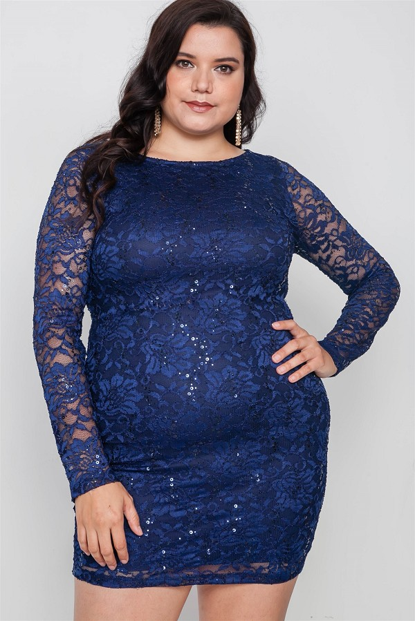 Plus size navy lace open back bodycon mini dress-id.cc38552