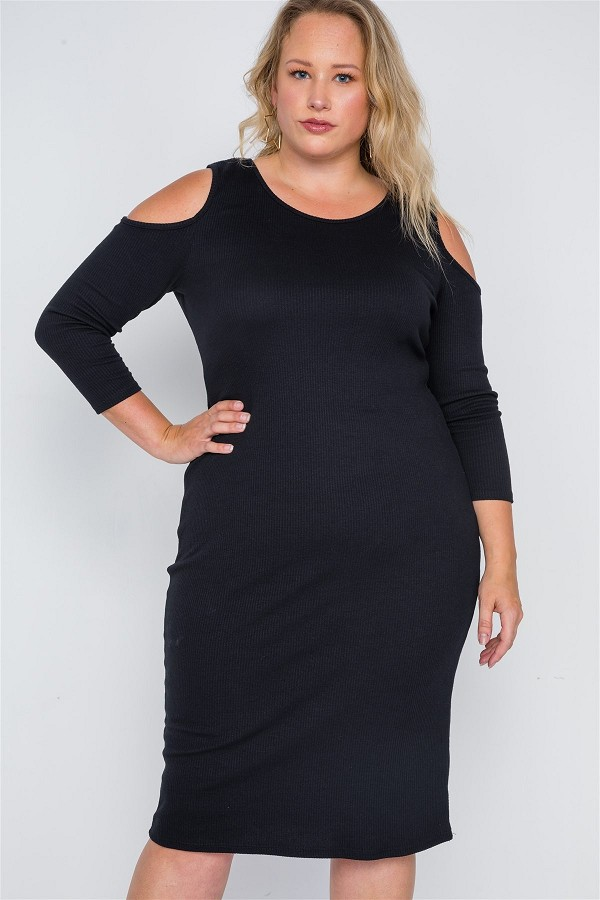 Plus size black ribbed cold shoulder bodycon dress-id.cc38661