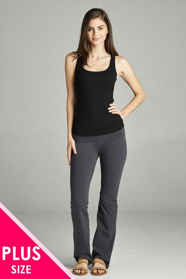 Full length leggings with flare bottom detail and fold over waist-id.cc38683b