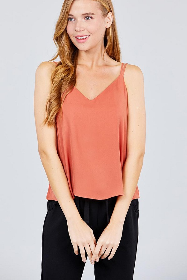V-neck w/back cross strap cami woven top-id.cc38685g