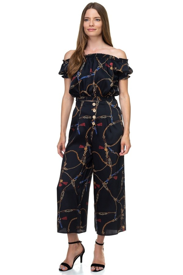 Smocked off shoulder top & button pants set-id.cc38708