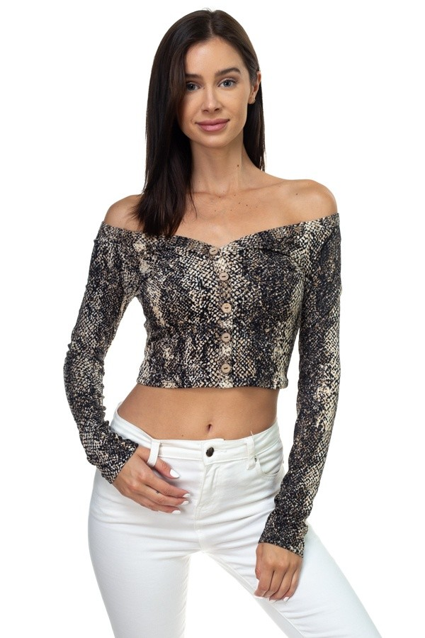 Snake print long sleeve cropped top-id.cc38716