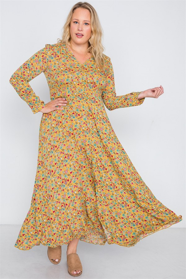 Plus size floral print button down maxi dress-id.cc38718d
