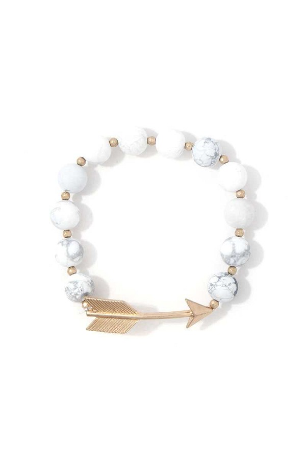 Arrow charm beaded stretch bracelet-id.cc38783