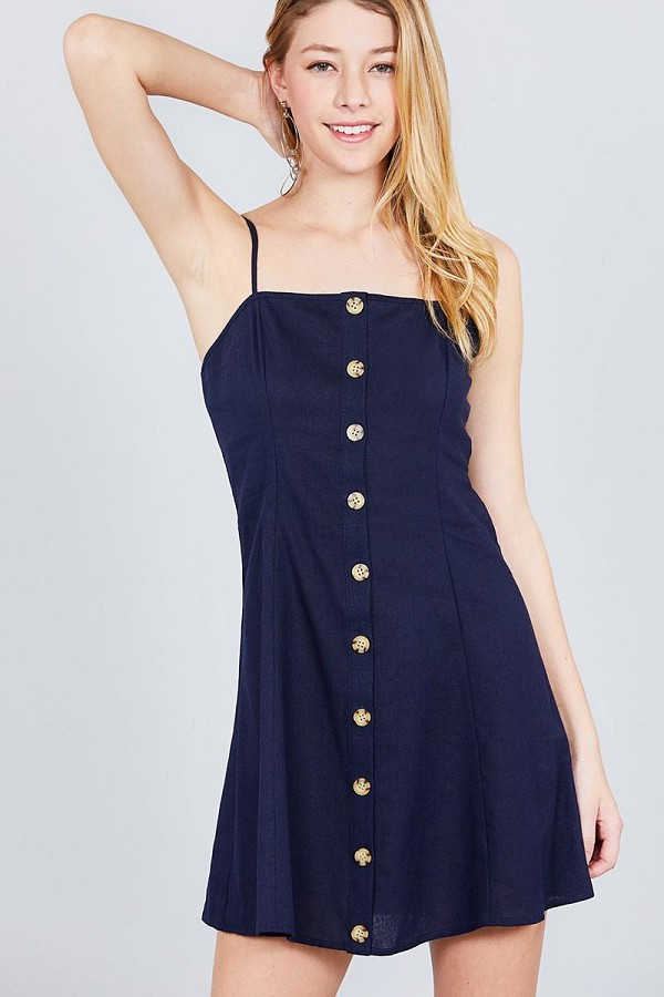 Button down cami linen mini dress-id.cc38840b