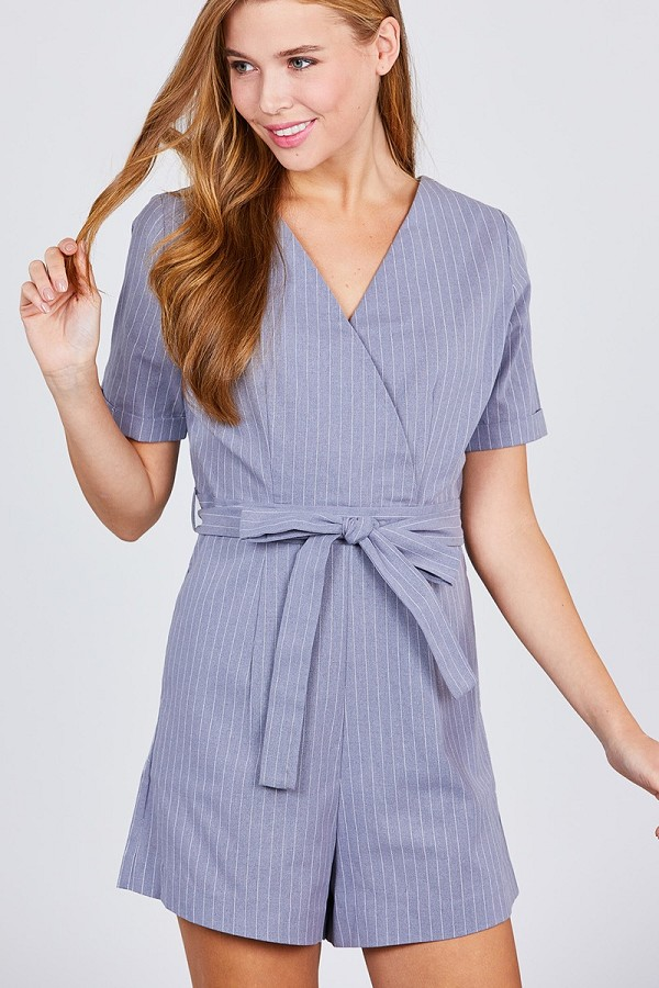 Short sleeve v-neck surplice w/waist belt stripe romper-id.cc38845
