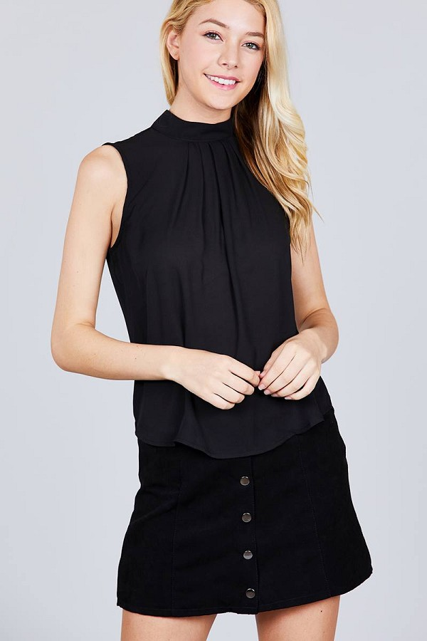 Sleeveless mock neck back button woven top-id.cc38850