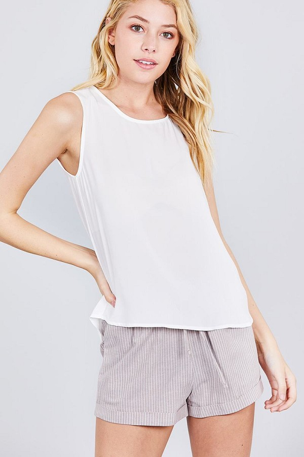 Sleeveless round neck back button detail woven top-id.cc38851b