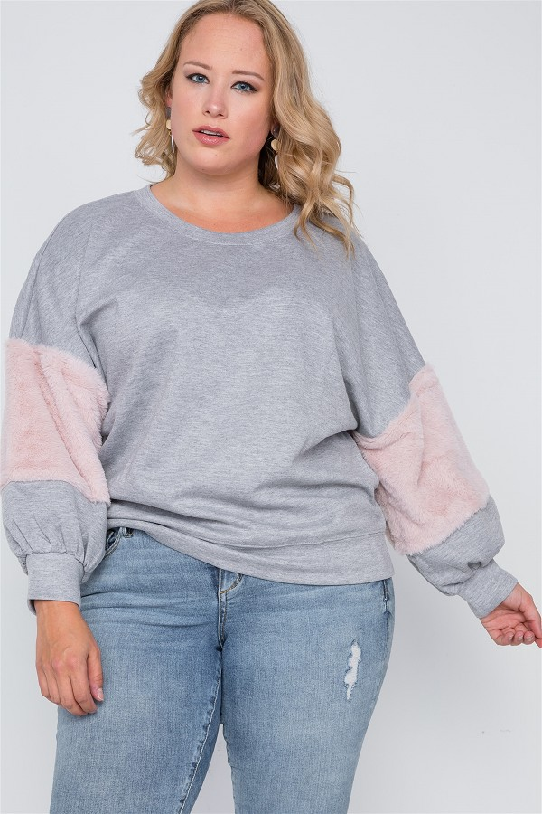 Plus size faux fur pink sleeves sweater -id.cc38860