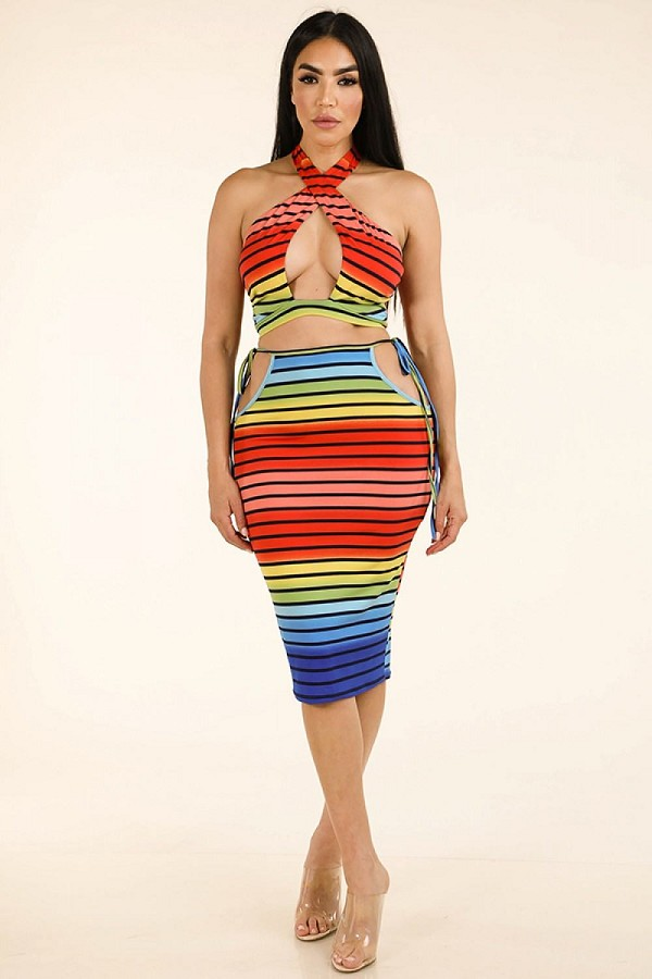 Rainbow stripe halter top & side cutout midi skirt-id.cc38937
