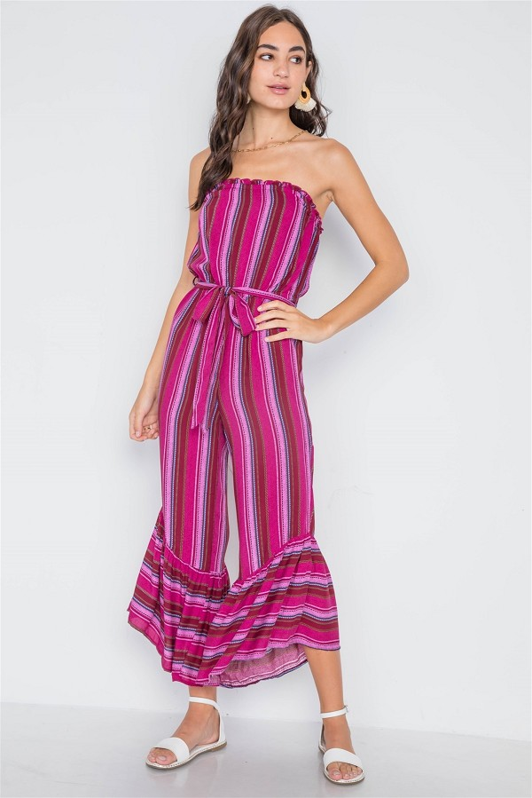 100% quality quarantee reasonably priced price Stripe strapless flare leg jumpsuit-id.cc38969