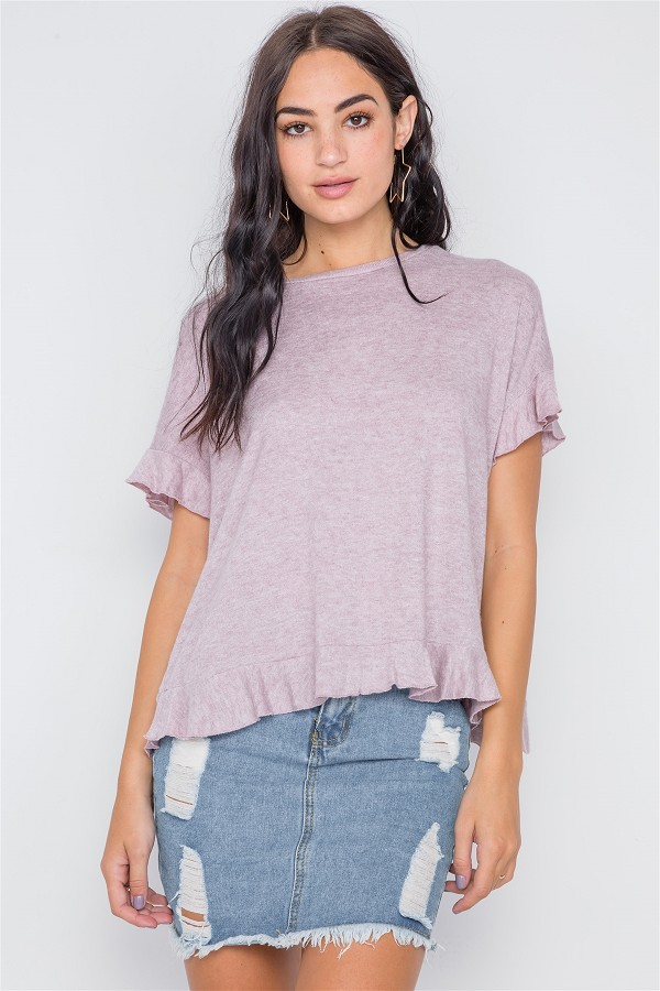 Short sleeve surplice back ruffle knit top-id.cc38972a