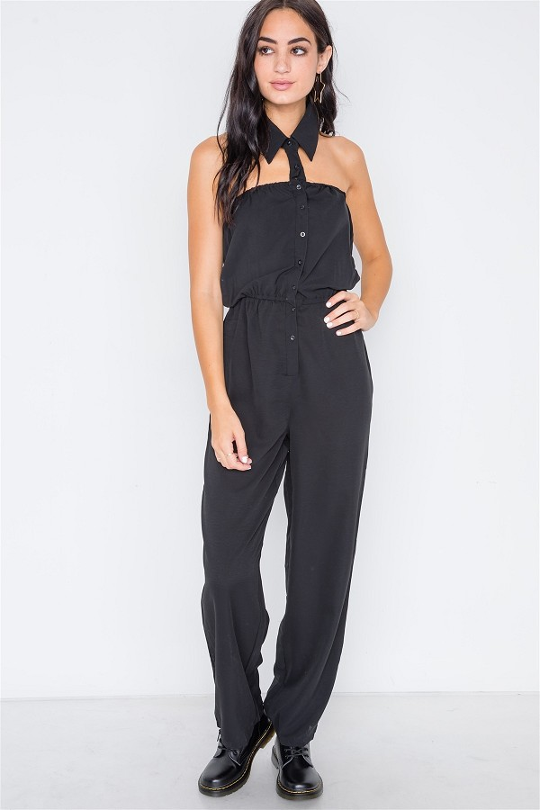 Black basic collar button down solid jumpsuit-id.cc38978