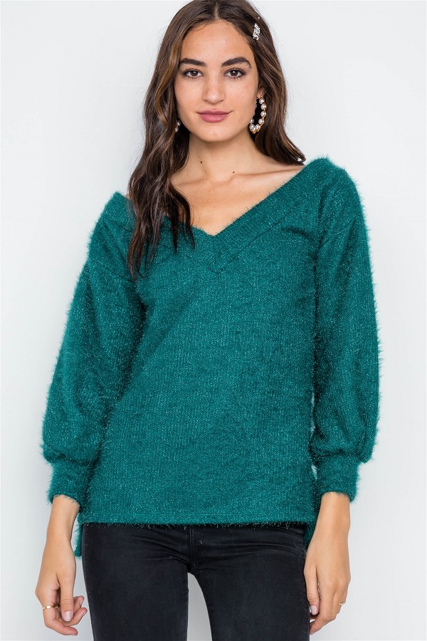 Teal fuzzy long sleeve v-neck sweater-id.cc38986