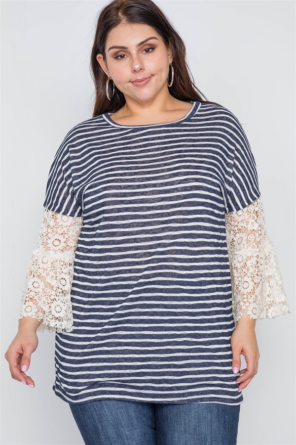 Plus size navy taupe stripe lace sleeves knit top-id.cc38987
