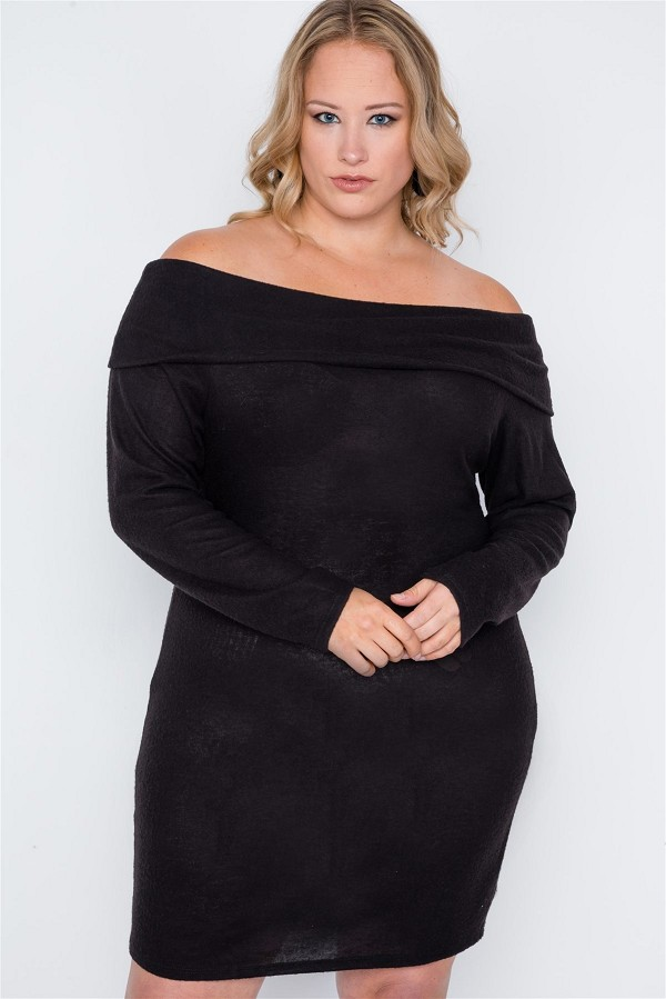 Plus size black off-the shoulder long sleeve dress-id.cc39051