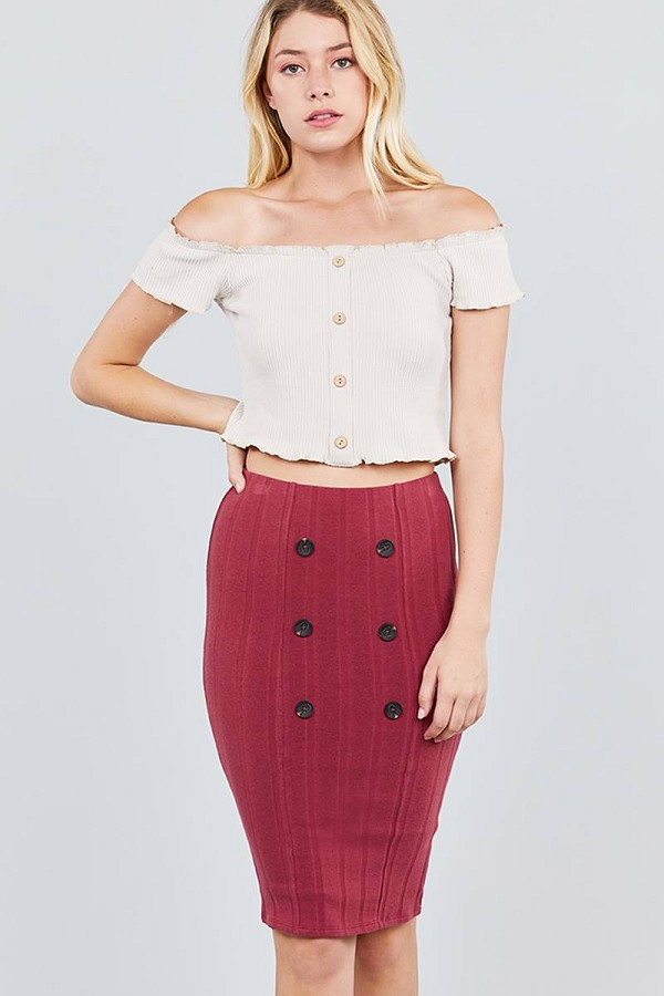 Button detail rib midi skirt-id.cc39133