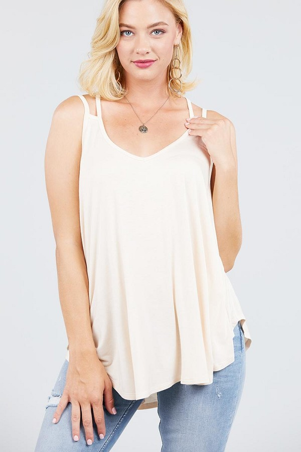 V-neck double shoulder strap cami rayon spandex top-id.cc39219c