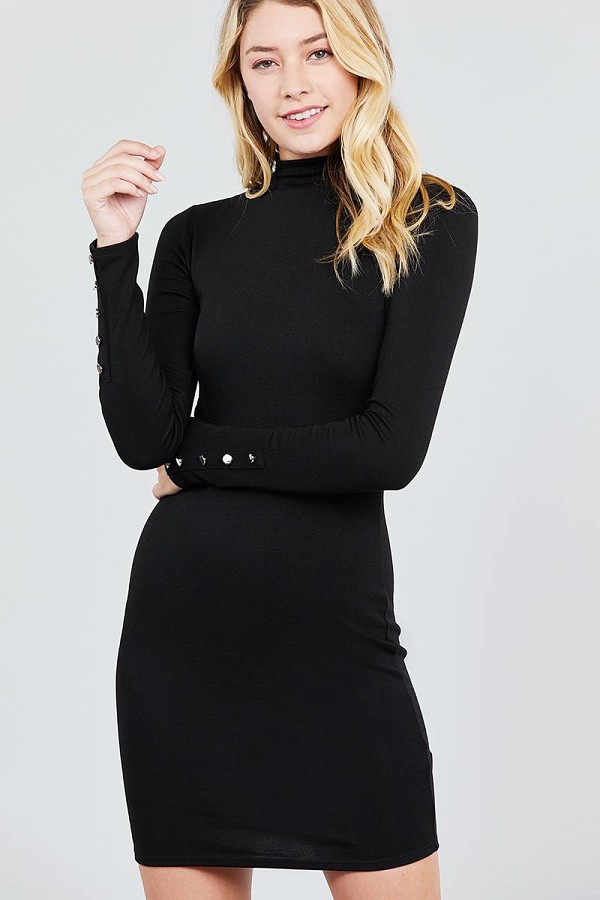 Long sleeve w/button detail high neck knit mini dress-id.cc39221a
