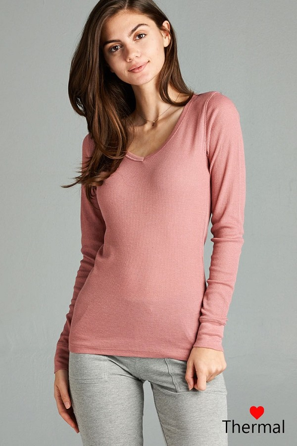 Long sleeve v-neck thermal top-id.cc39236c