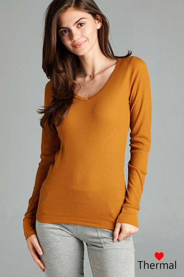 Long sleeve v-neck thermal top-id.cc39236e