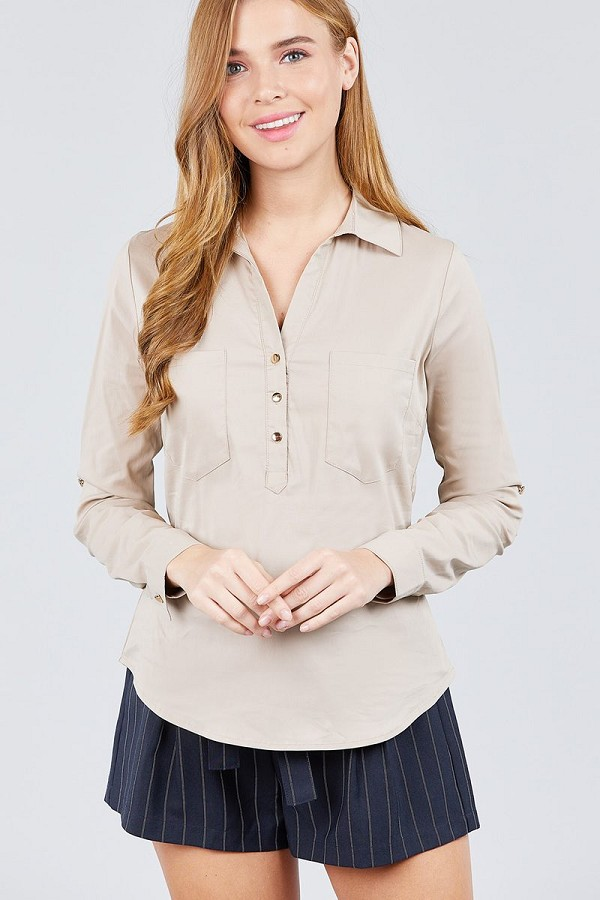 3/4 roll up sleeve front two pocket w/button detail stretch shirt-id.cc39237b