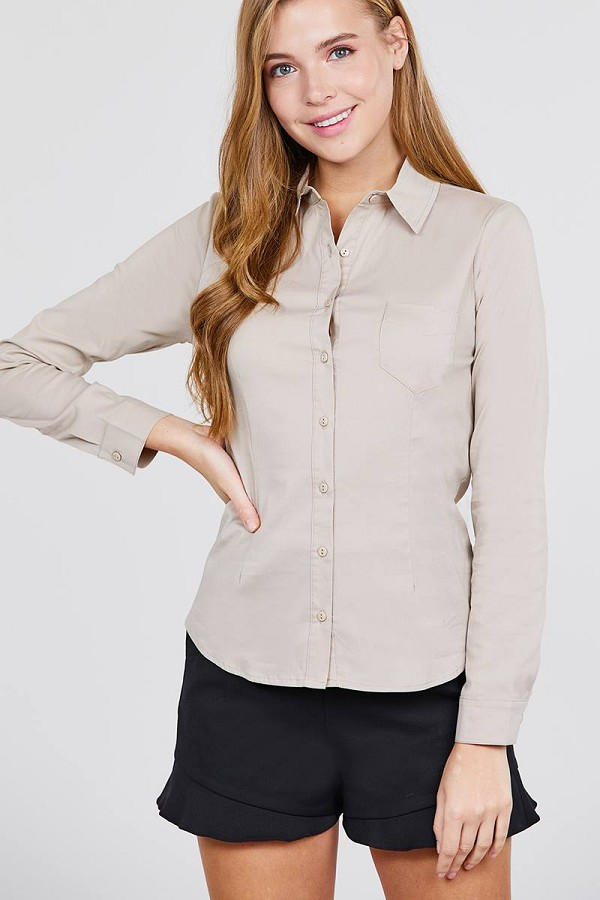 Long sleeve princess line one side pocket button down woven shirts-id.cc39238b