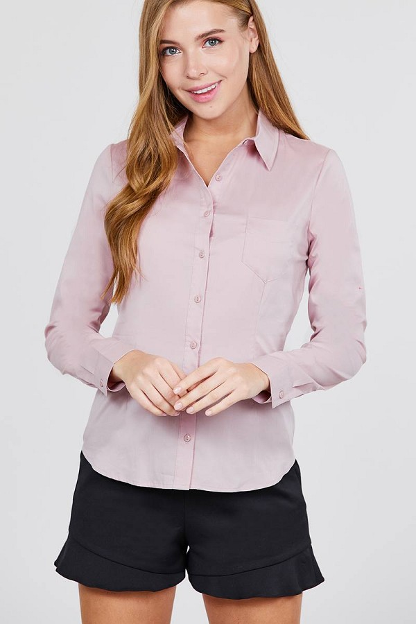 Long sleeve princess line one side pocket button down woven shirts-id.cc39238d