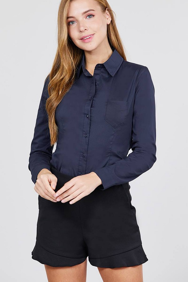 Long sleeve princess line one side pocket button down woven shirts-id.cc39238f