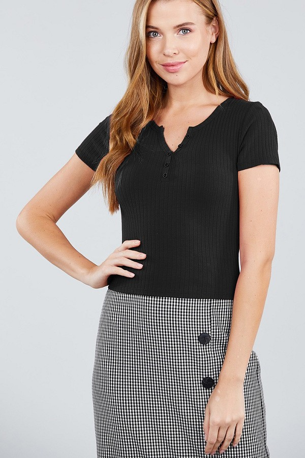 Short sleeve button placket henley rib knit top-id.cc39241