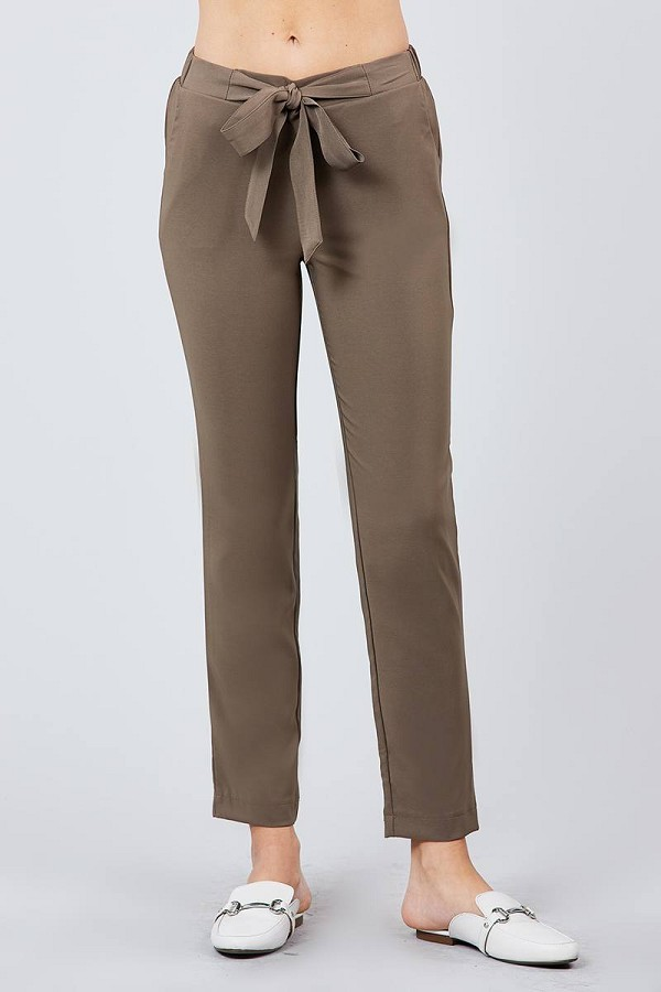 Front ribbon tied pegged long pants-id.cc39243c
