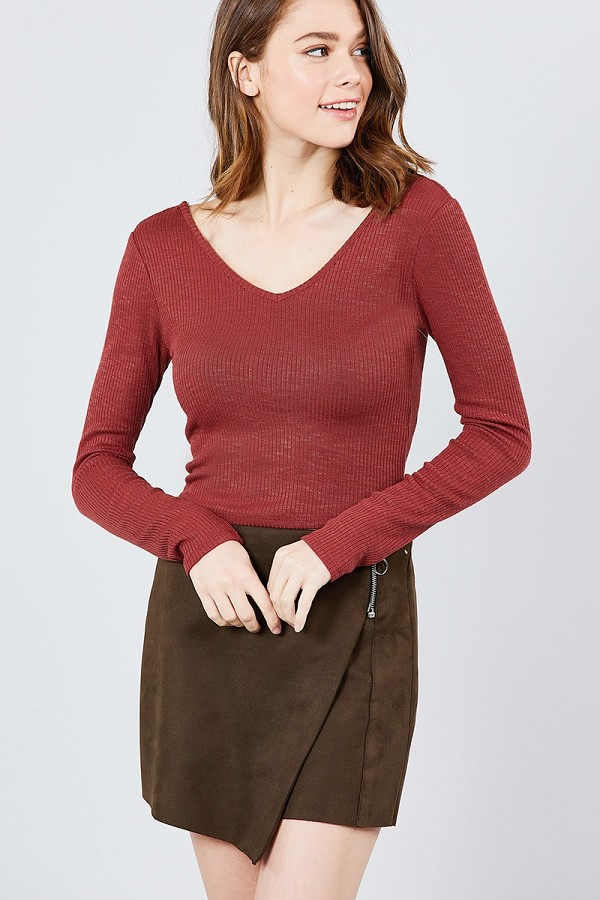 Long sleeve double v-neck rib knit top-id.cc39244c