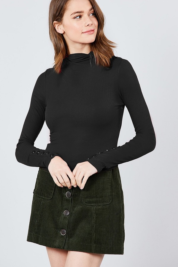 Long sleeve w/button detail mock neck rib knit top-id.cc39245