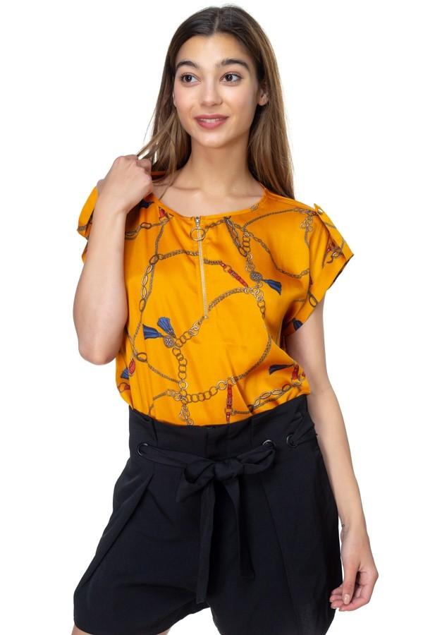 Zip v neck shirt-id cc39367a